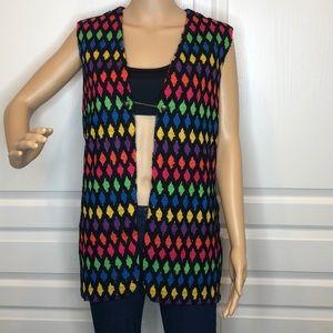 Pykettes Diamond Pattern 1970's Vest Size L